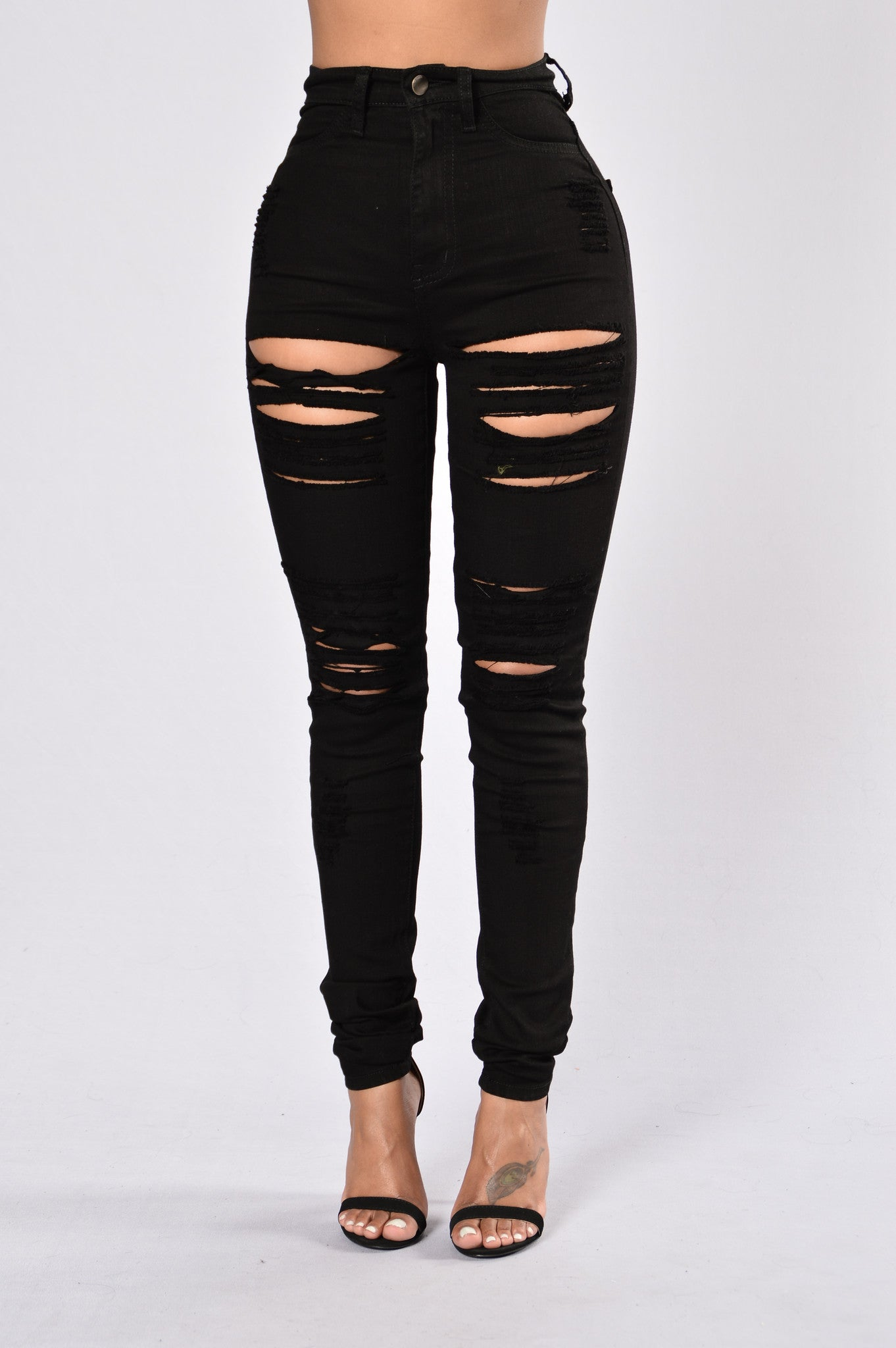 Black High Waisted Distressed Jeans cgG2JWmH