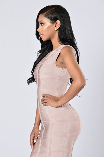 Pop Champagne Bandage Dress - Champagne