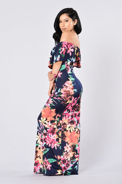 Deep Tropics Dress - Navy