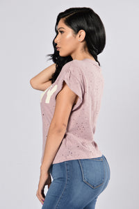 Over Seas Lover Tee - Mauve Angle 3