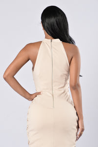 On The Side Dress - Beige