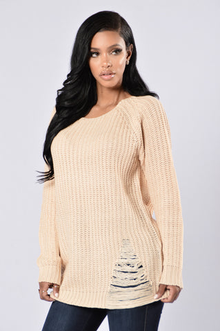 All Tore Up Sweater - Taupe