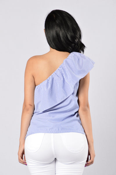 By My Side Top - Blue/White