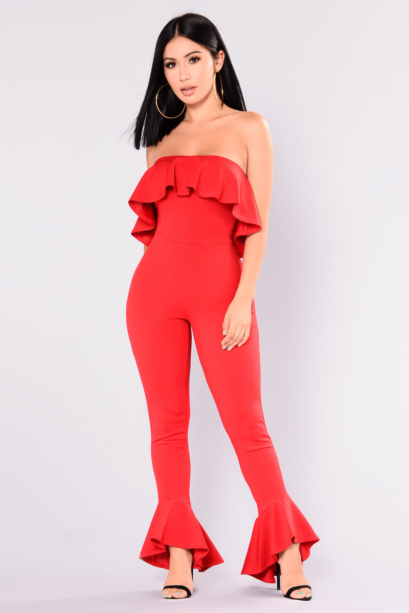Arleen Ruffle Jumpsuit - Red