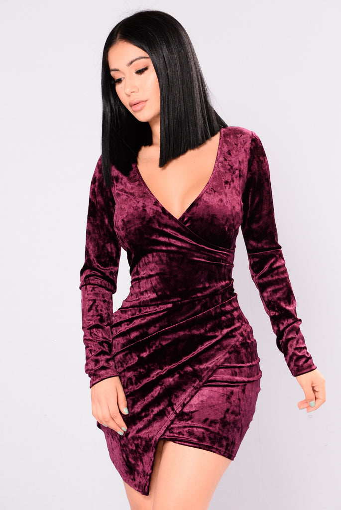 Description Plum Velvet Floral Party Dress. Style No: K. Set the tone for the holiday season with our plum velvet floral trim party dress. Exquisite from head to toe, this deluxe occasion gown is velvet .