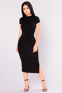 Dominique Midi Dress - Black