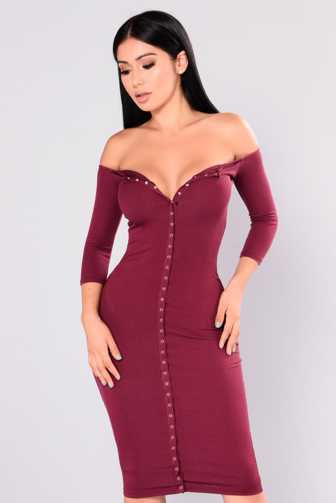 Puppy Love Dress - Burgundy
