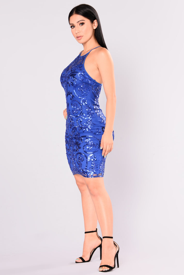 Show Up Late Sequin Dress - Royal