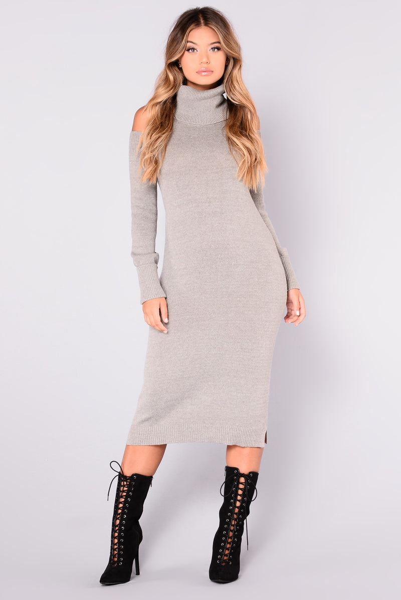 Illianna Knit Dress - Heather Grey