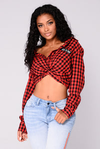Eliana Gingham Top - Red/Black Angle 5