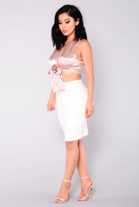 Cierra Satin Top - Rose