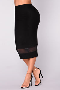 Let's Connect Pencil Skirt - Black