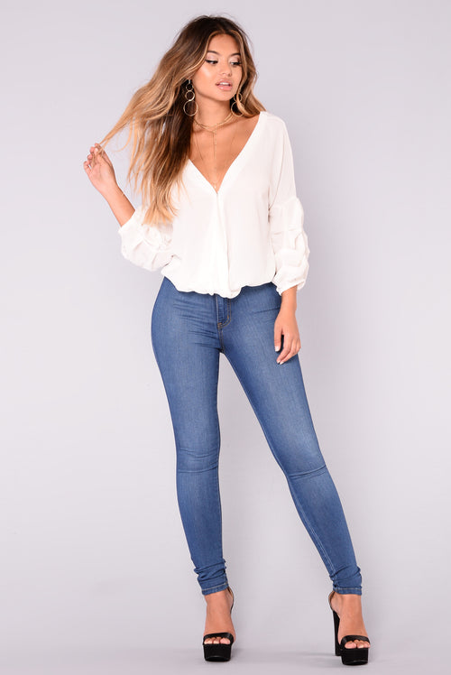 Hadley Bubble Sleeve Top - Off White