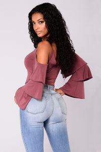 Sia Three Bell Sleeve Cold Shoulder Top - Washed Plum