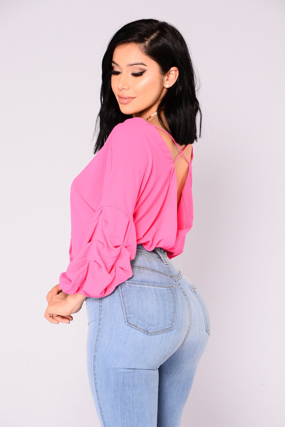 Hadley Bubble Sleeve Top - Pink