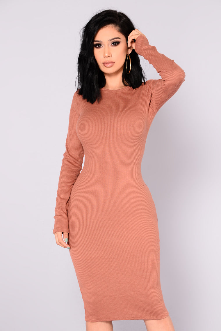 Shaelyn Ribbed Dress - Rust