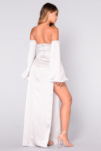 Kiera Satin Dress - Silver