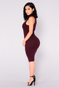 Seren Ribbed Dress - Wine
