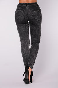 Katya Lace Up Jeans - Dark Grey
