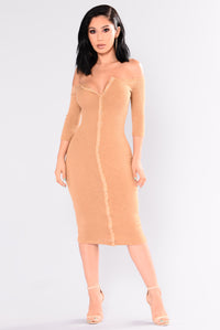 Lovesick Puppy Ribbed Dress - Mustard