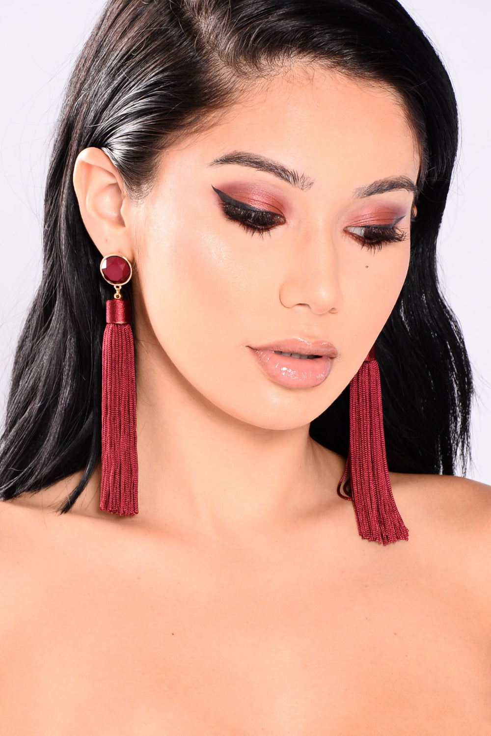 Tuscany Dreaming Tassle Earrings - Burgundy