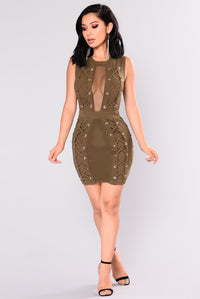 Stronger Lace Up Dress - Olive