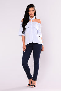 Anisa Cold Shoulder Top - Blue/Ivory