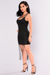 High Maintenance Rhinestone Cover Up Dress - Black Angle 5