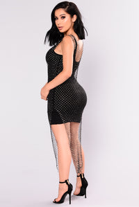High Maintenance Rhinestone Cover Up Dress - Black