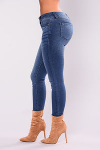 Time Is Up Skinny Jeans - Medium Denim
