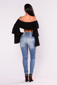 Bella Chica Ruffle Sleeve Top - Black