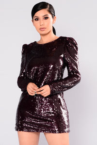 I Prefer Sequin Dress - Wine