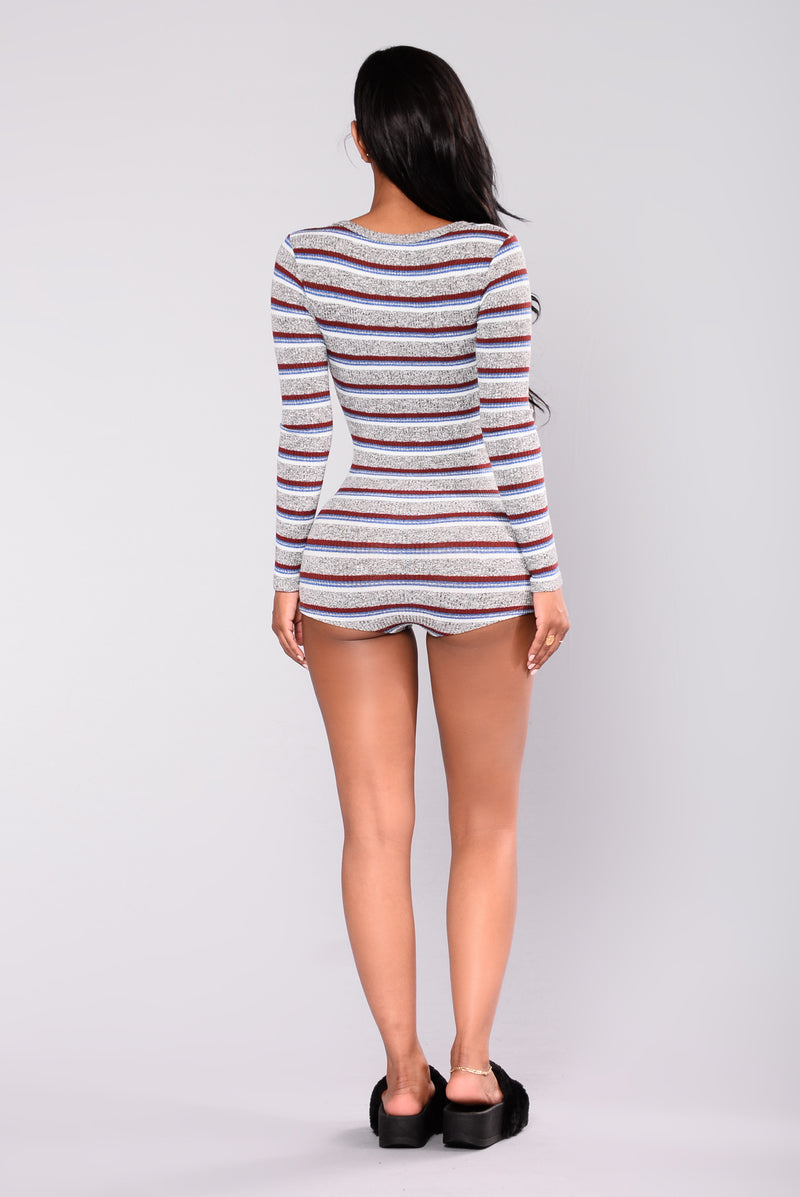 Big Bear Striped Romper - Grey/Stripe
