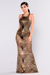 Mairead Sequin Dress - Gold Angle 1