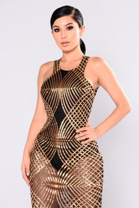 Mairead Sequin Dress - Gold Angle 2