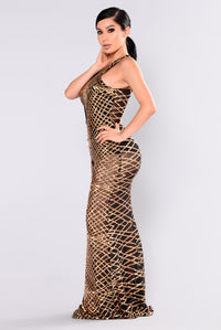 Mairead Sequin Dress - Gold Angle 4