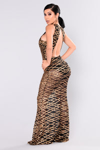 Mairead Sequin Dress - Gold Angle 5