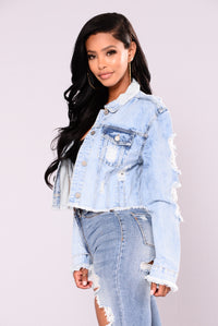 Roscio Cropped Denim Jacket - Medium Wash