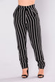 Tati Stripe Dressy Pants - Black/White