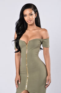 Breaking Borders Dress - Olive Angle 2