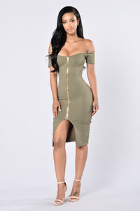 Breaking Borders Dress - Olive Angle 1
