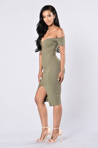 Breaking Borders Dress - Olive Angle 3