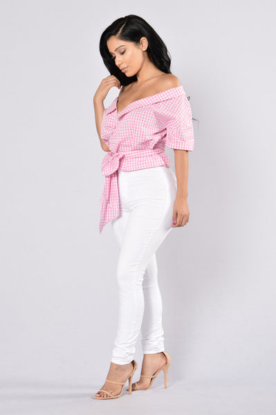 Wrap It Up Top - Pink/White
