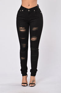 Torn Away Jeans - Black