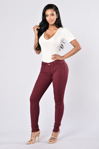Easy Fit Jeans - Burgundy Angle 2