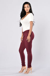 Easy Fit Jeans - Burgundy Angle 5