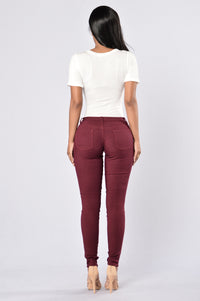 Easy Fit Jeans - Burgundy Angle 6