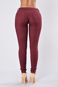 Easy Fit Jeans - Burgundy Angle 3