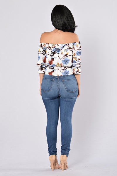 Forest Flower Top - Blue