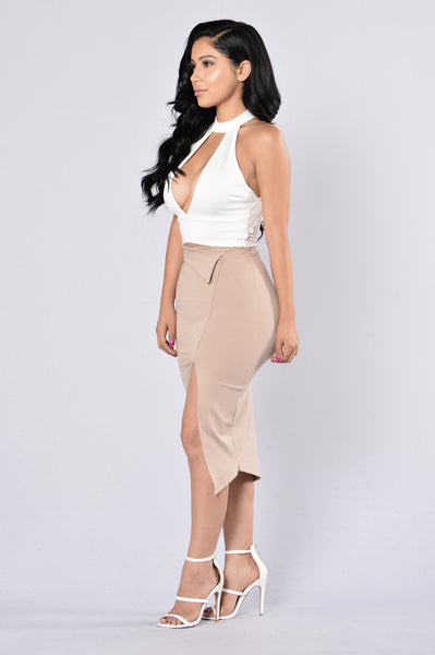 Just A Slit Skirt - Taupe